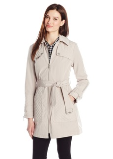 Kenneth Cole Women's Belted Trench Coat with Quilting Detail and Hood