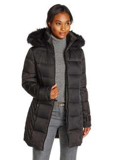 Kenneth Cole Women's Chevron Side Panel Down Coat with Faux Fur Hood