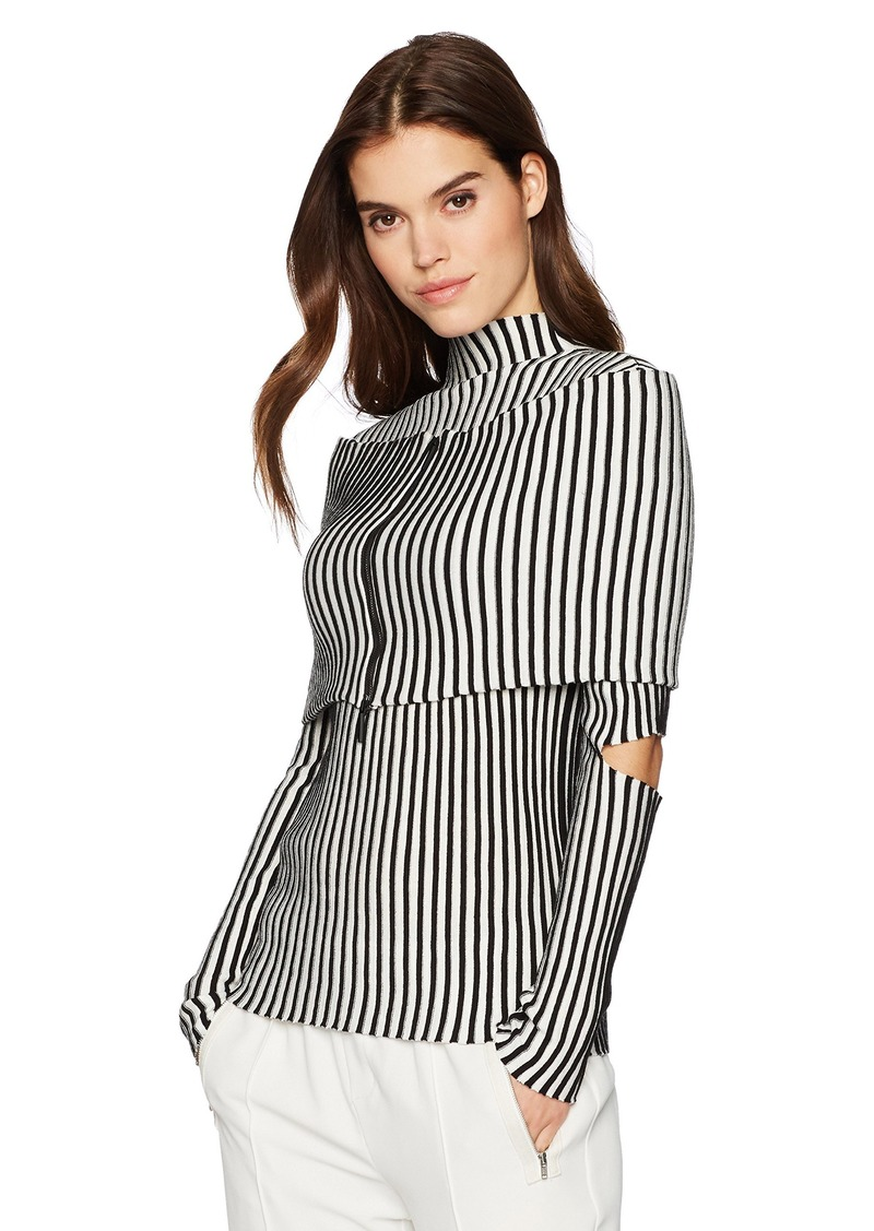 Kenneth Cole Women's Cold Elbow Stripe Sweater with Zip Shrug  L
