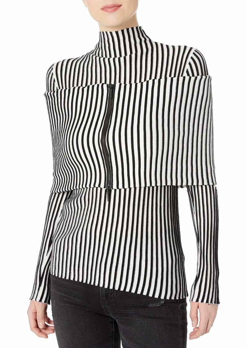 Kenneth Cole Women's Cold Elbow Stripe Sweater with Zip Shrug  M