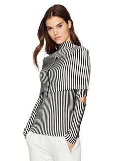 Kenneth Cole Women's Cold Elbow Stripe Sweater With Zip Shrug  S