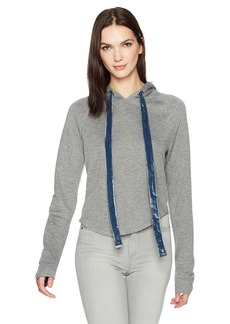 Kenneth Cole Women's Curved Hem Cropped Hoodie  L