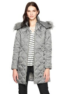 Kenneth Cole Women's Diamond Quilted Down Coat with Faux Fur Trimmed Hood  L