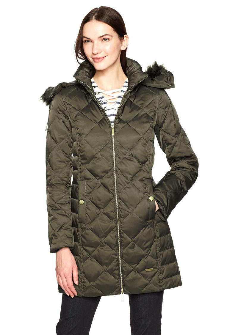 Kenneth Cole Women's Diamond Quilted Down Coat with Faux Fur Trimmed Hood  XS