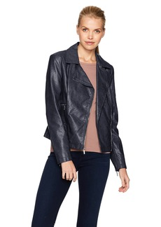 Kenneth Cole Women's Distressed Vegan Leather Moto Jacket with Zipper Details  S