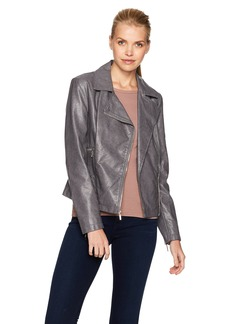 Kenneth Cole Women's Distressed Vegan Leather Moto Jacket with Zipper Details  XS
