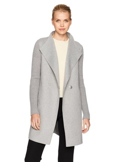 Kenneth Cole Women's Double Face Lightweight Wool Jacket with Rib Knit Sleeves  L
