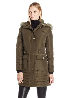 Kenneth Cole Women's Down Parka with Faux Fur Trim Hood