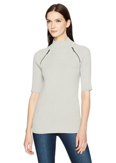 Kenneth Cole Women's Elbow Sleeve Mock Sweater  L