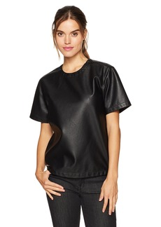 Kenneth Cole Women's Faux Leather Moto T-Shirt  M