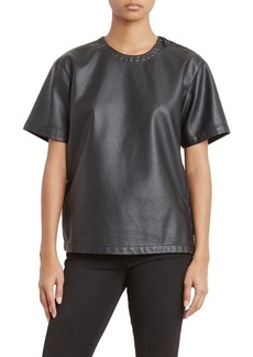 Kenneth Cole Women's Faux Leather Moto T-Shirt  XS