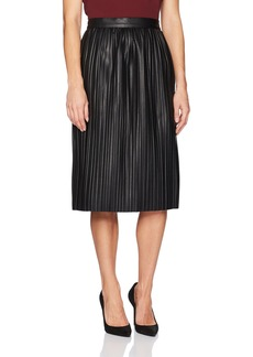 Kenneth Cole Women's Faux Leather Pleated Midi Skirt  XS