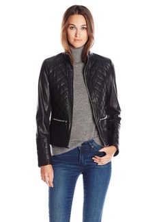 Kenneth Cole Women's Faux Leather Quilted Jacket  X-Large