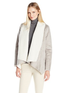 Kenneth Cole Women's Faux Shearling Drape Jacket  Large