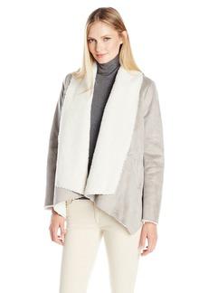 Kenneth Cole Women's Faux Shearling Drape Jacket  Medium
