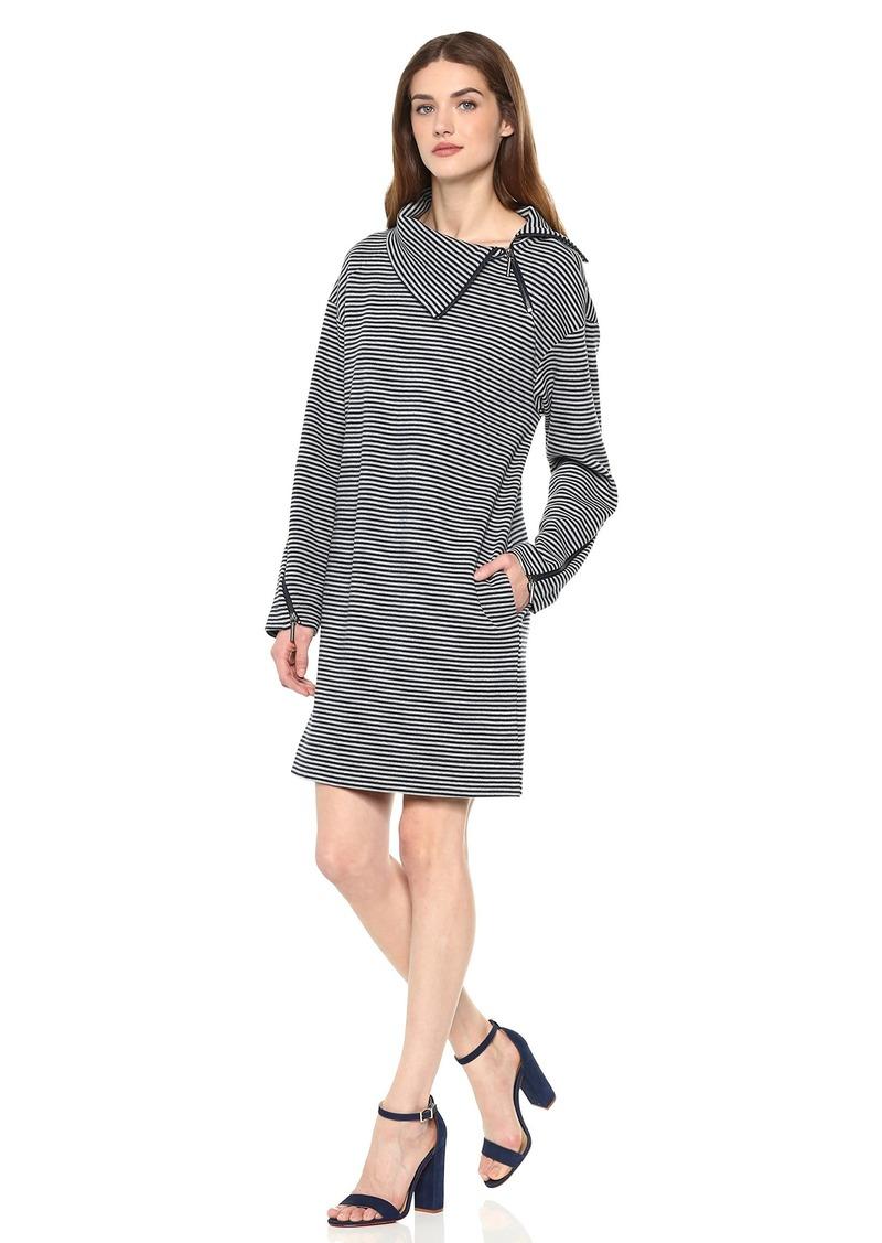 Kenneth Cole Women's Funnel Zip Neck Dress Rep Stripe-Indigo M