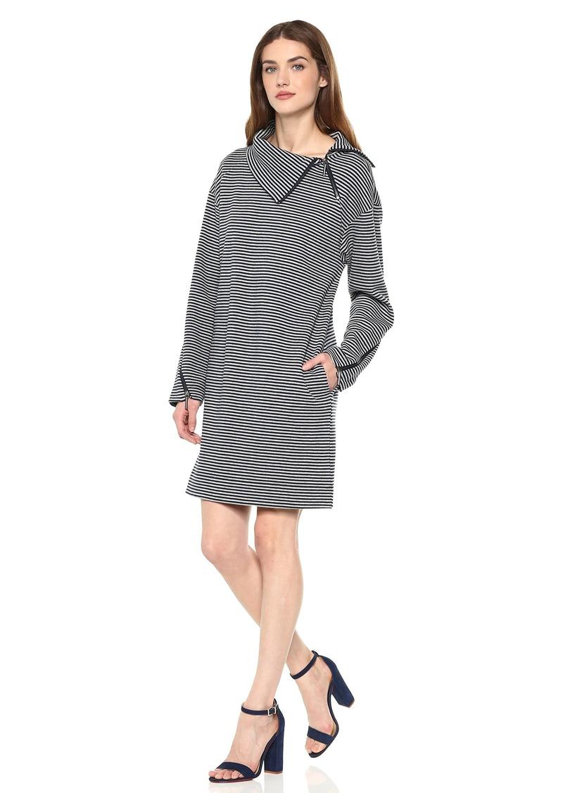Kenneth Cole Women's Funnel Zip Neck Dress Rep Stripe-Indigo XL