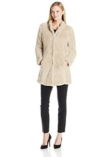 Kenneth Cole Women's Fuzzy Faux Fur Coat  Large