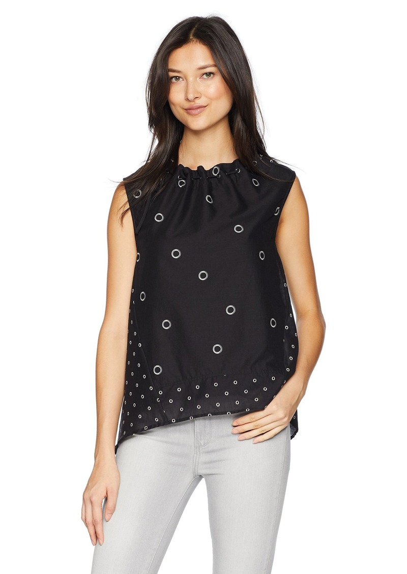 KENNETH COLE Women's Grommet Printed Sleeveless Top Mini Black c S
