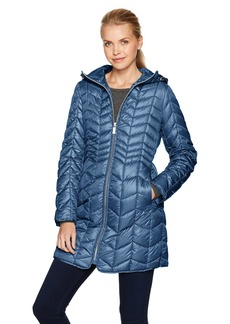 Kenneth Cole Women's Hooded Chevron Quilted Lightweight Puffer Coat with Chunky Zipper  M