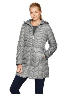 Kenneth Cole Women's Hooded Chevron Quilted Lightweight Puffer Coat with Chunky Zipper  XS