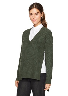 Kenneth Cole Women's Irregular Cable Tunic Sweater  L