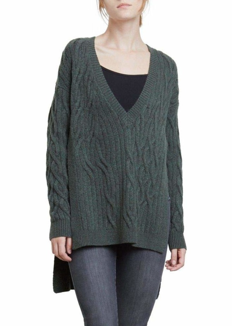 Kenneth Cole Women's Irregular Cable Tunic weater deep Forest