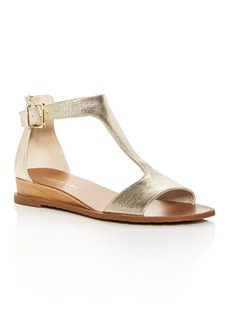 Kenneth Cole Women's Judd Leather T-Strap Demi Wedge Sandals