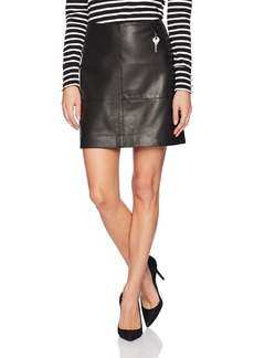 Kenneth Cole Women's Leather Seamed Mini-Skirt  M