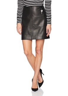 Kenneth Cole Women's Leather Seamed Mini-Skirt  XL