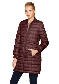 Kenneth Cole Women's Lightweight Anorak Jacket Puffer Varsity with Rib Knit Trims  L