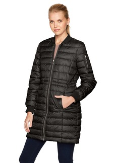 Kenneth Cole Women's Lightweight Anorak Puffer Varsity with Rib Knit Trims  L