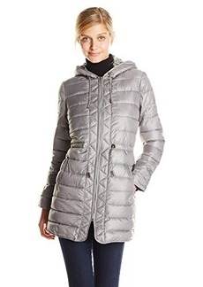 Kenneth Cole Women's Lightweight Packable Faux Down Jacket with Cinch Waist