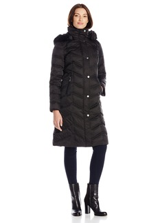 Kenneth Cole Women's Long Maxi Down Coat with Faux Fur Hood