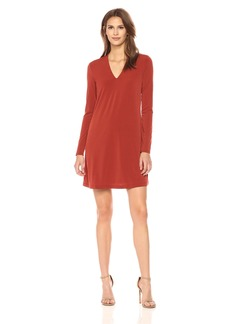 Kenneth Cole Women's Long Sleeve V-Neck Dress red Clay XL
