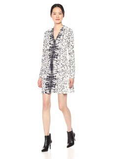 Kenneth Cole Women's Long Sleeve V-Neck Dress URB TRAC ALLVR Gry M