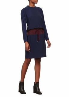 Kenneth Cole Women's Mixed Media Drawstring Waist Dress  L