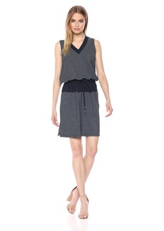 Kenneth Cole Women's Mixed Media Drawstring Waist Dress  M
