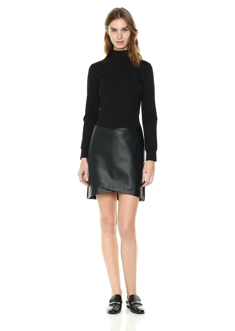 Kenneth Cole Women's Mixed Media Mock Dress  S