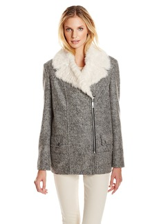 Kenneth Cole Women's Moto Wool Coat with Sherpa Collar  Large