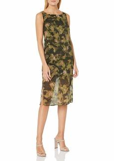 Kenneth Cole Women's Overlay Column Dress City camo/Olive drab XS