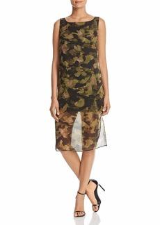 Kenneth Cole Women's Overlay Column Dress City camo/Olive drab L