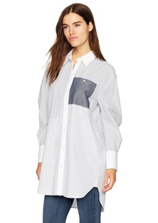 Kenneth Cole Women's Oversized Striped Tunic Shirt Navy L
