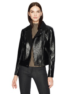 Kenneth Cole Women's Patent Leather Moto Jacket  XL
