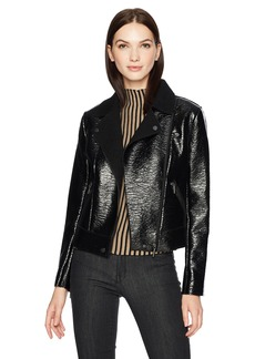 Kenneth Cole Women's Patent Leather Moto Jacket  XS