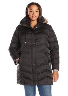 Kenneth Cole Women's Plus Size New York Chevron Down Coat with Faux-Fur Trim