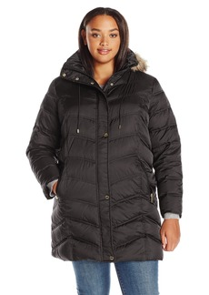 Kenneth Cole Women's Plus Size New York Chevron Down Coat with Faux-Fur Trim