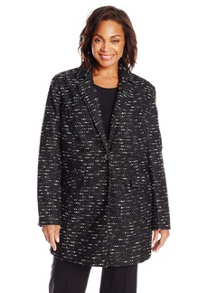 Kenneth Cole Women's Plus-Size Tweed Wool Single Breasted Coat