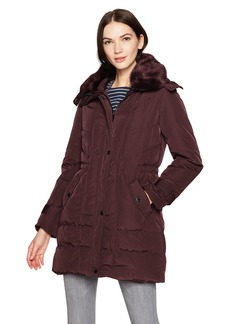Kenneth Cole Women's Poly Oxford Hooded Down Coat with Removeable Faux Fur Collar  L