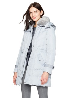 Kenneth Cole Women's Poly Oxford Hooded Down Coat with Removeable Faux Fur Collar  M